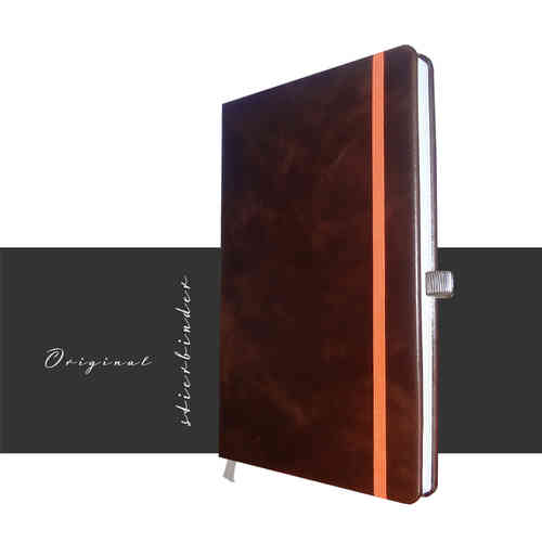 brown leather notebook with 144 pages