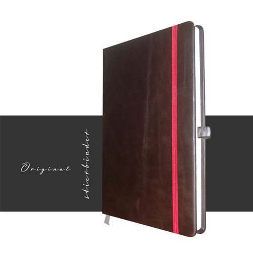 notebook A5 genuine leather brown personalization and selectable rubber