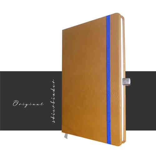 notebook A5 genuine leather cognac personalization and selectable rubber