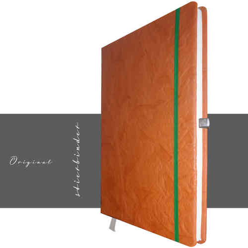 stilvolles Notizbuch A4 Leder orange
