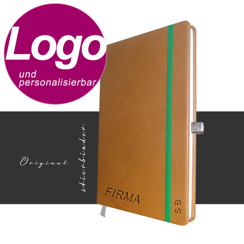 notebook genuine leather A5 cognac with personalization and LOGO