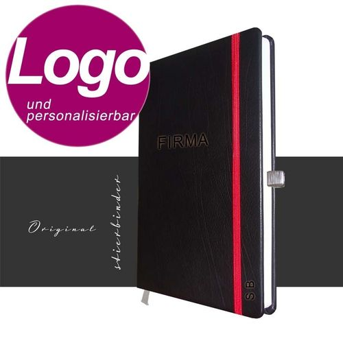 notebook genuine leather A5 black with personalization and LOGO
