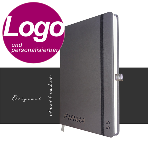notebook genuine leather A5 gray with personalization and LOGO