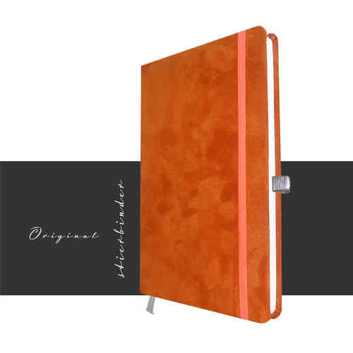 Wildleder Notizbuch A5 orange in blanko mit Perso