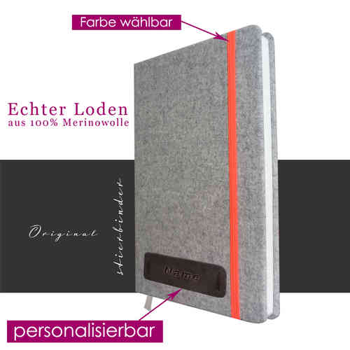 costume tracht-felt notebook A5 gray with personalization and selectable rubber