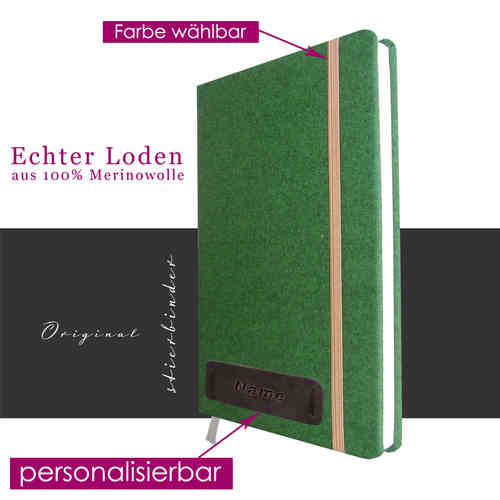 hunter costume tracht-felt notebook A5 green with personalization and selectable rubber