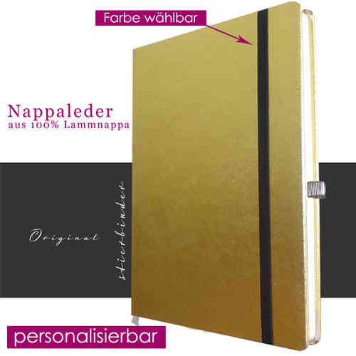 Notebook nappa Leather GOLD A4