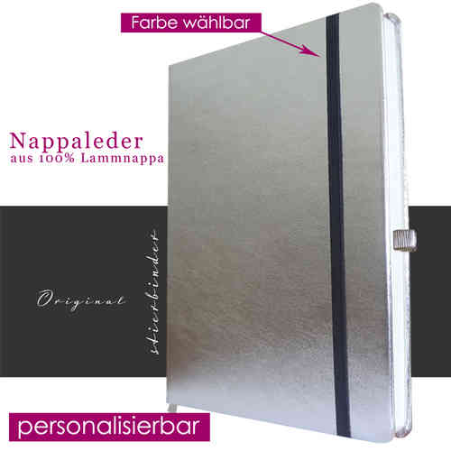 Notebook nappa Leather SILVER A4
