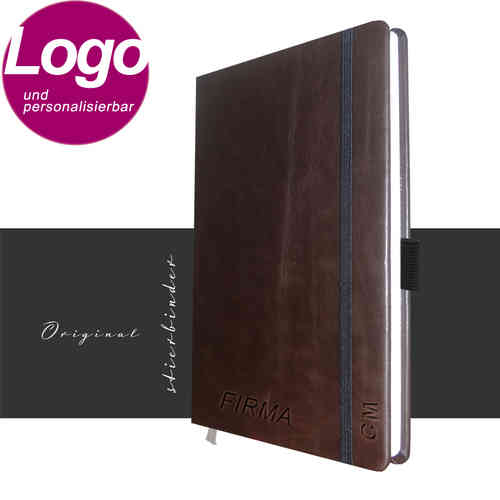 notebook genuine leather A5 darkbrown with personalization and LOGO