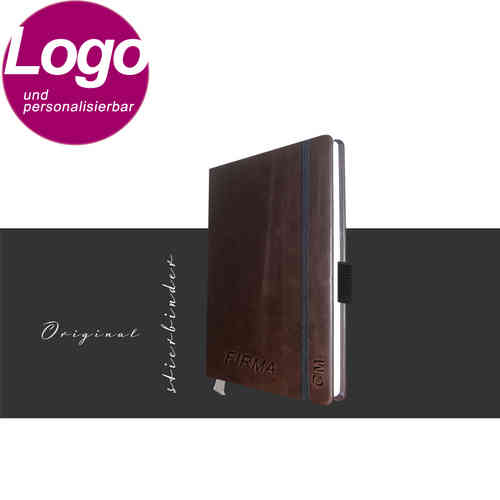 notebook genuine leather A6 darkbrown with personalization and LOGO