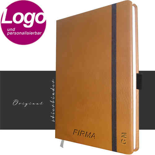 notebook genuine leather A4 cognac with personalization and LOGO
