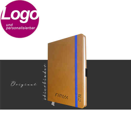 notebook genuine leather A6 cognac with personalization and LOGO