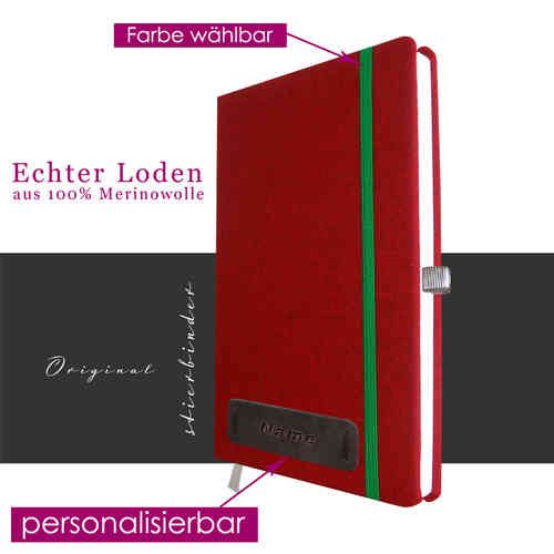 costume tracht-felt notebook A5 red with personalization and selectable rubber
