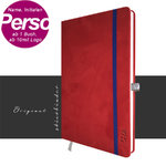 Notebook suede Leather red A5