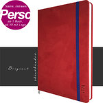 Notebook suede Leather red A4