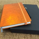 Notizbuch A5 Lamm Nappa Leder metallic orange