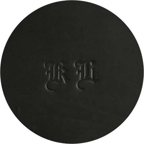 luxury leather mat - beer mat genuine leather, round, black- old english