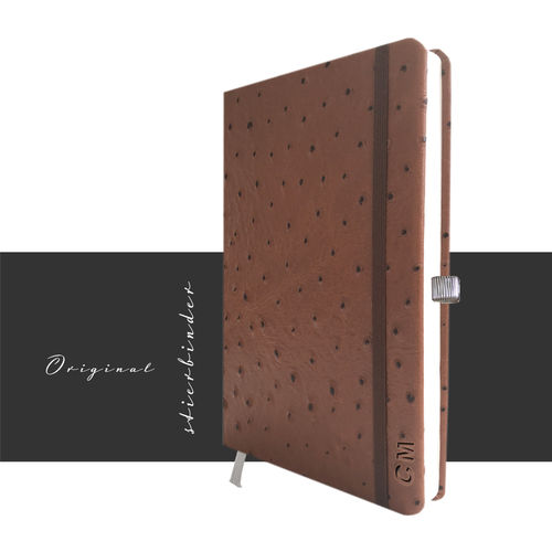 ostrich optic notebook A5 genuine leather brown personalization