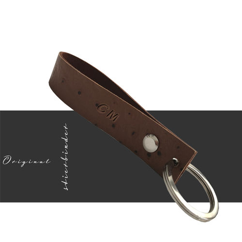 Orchid optic leather keyring- genuine leather