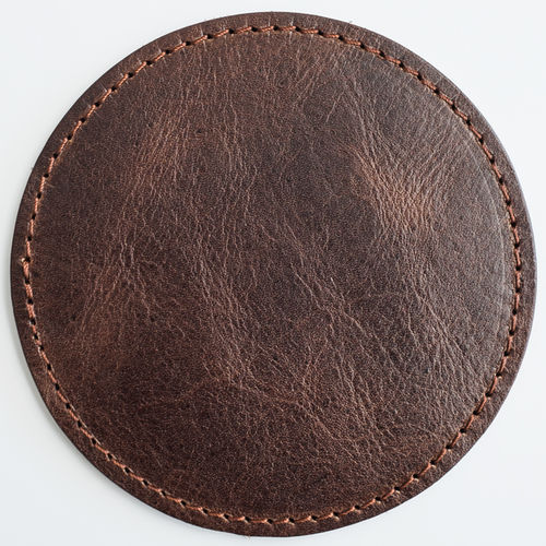 luxury vintage leather mat - beer mat genuine leather, round, old english